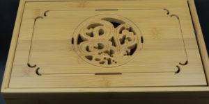 Teeboot (Chapan) aus Bambus mit Motiv, 28cm x 18cm x 6cm
